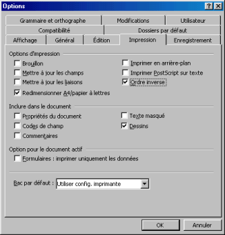 French Word printing options dialog box