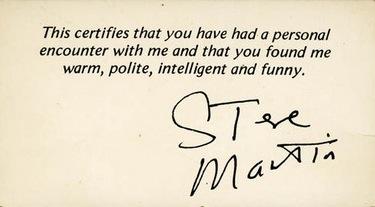 Steve Martin business card