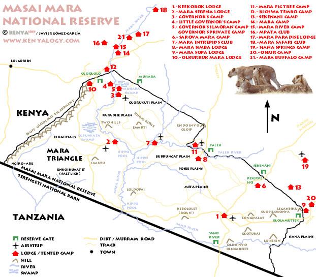 Masai Mara National Park - map
