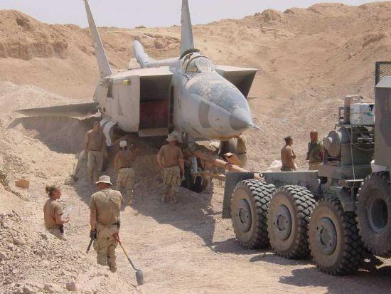 Iraqi MIG in desert sand