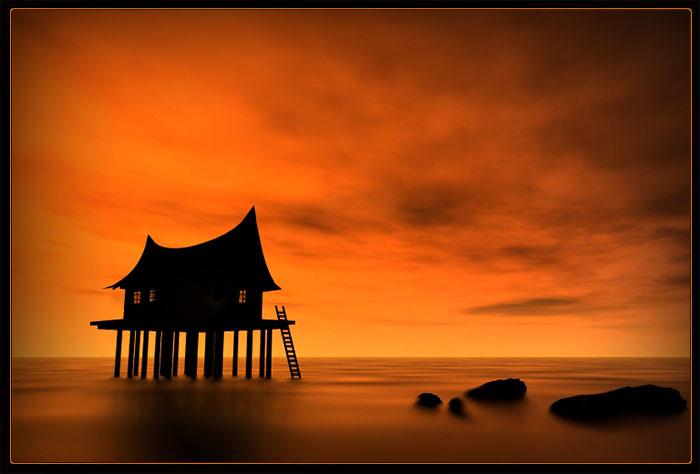 House in the orange sun set
