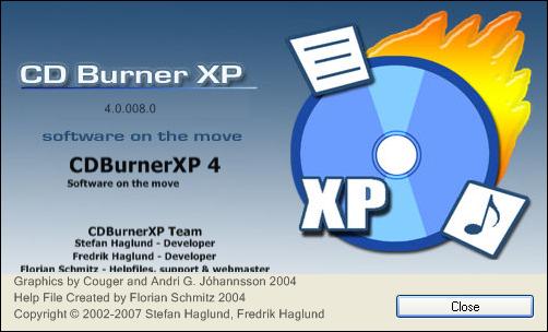 CDBurnerXP - About dialog
