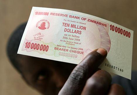 Zimbabwe, billet de dix millions de dollars