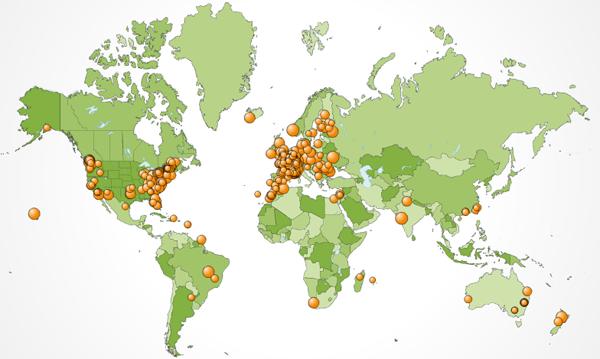 Répartition géographique des visiteurs de Mars 2007
