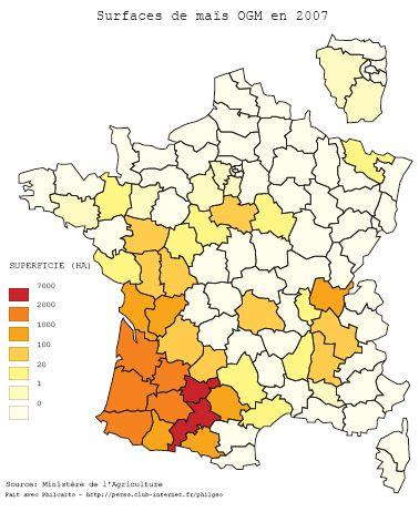 Carte du maïs OGM en France